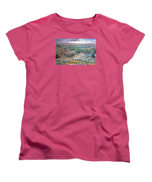 Women's T-Shirt (Standard Cut) featuring the painting My Home Looking West by Dawn Senior-Trask