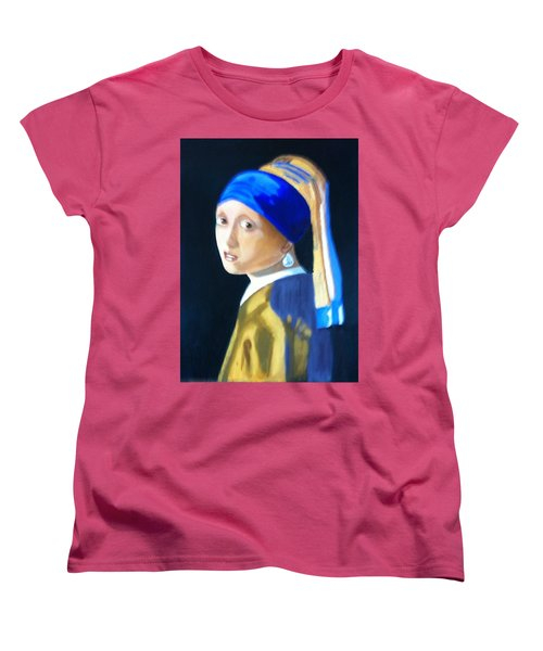Women's T-Shirt (Standard Cut) featuring the painting My Version-girl With The Pearl Earring by Rod Jellison