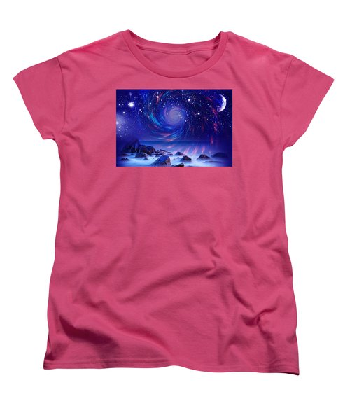 Women's T-Shirt (Standard Cut) featuring the mixed media Mystic Lights by Gabriella Weninger - David