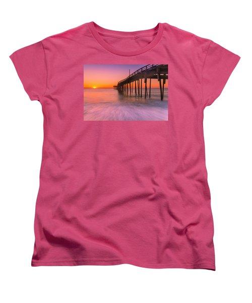 Nags Head Avon Fishing Pier At Sunrise Women's T-Shirt (Standard Cut) by Ranjay Mitra
