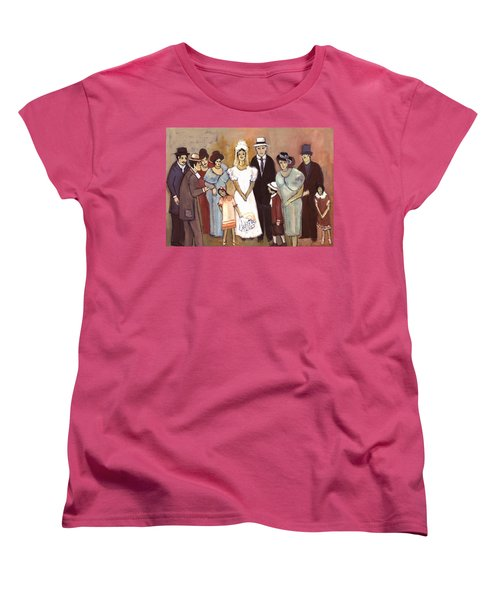 Naive Wedding Large Family White Bride Black Groom Red Women Girls Brown Men With Hats And Flowers Women's T-Shirt (Standard Cut) by Rachel Hershkovitz