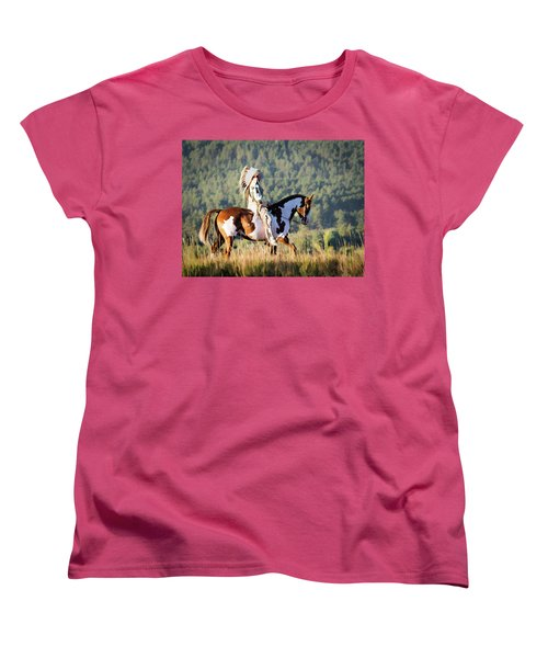 Native American On His Paint Horse Women's T-Shirt (Standard Cut) by Nadja Rider