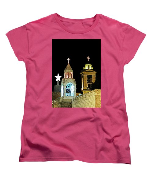 Women's T-Shirt (Standard Cut) featuring the photograph Nativity Church Lights by Munir Alawi