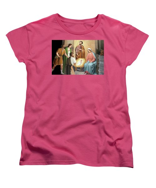 Nativity Scene Painting At Nativity Church Women's T-Shirt (Standard Cut) by Munir Alawi