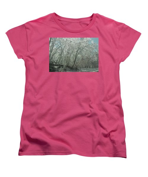 Women's T-Shirt (Standard Cut) featuring the photograph Nature's Frosting by Ellen Levinson