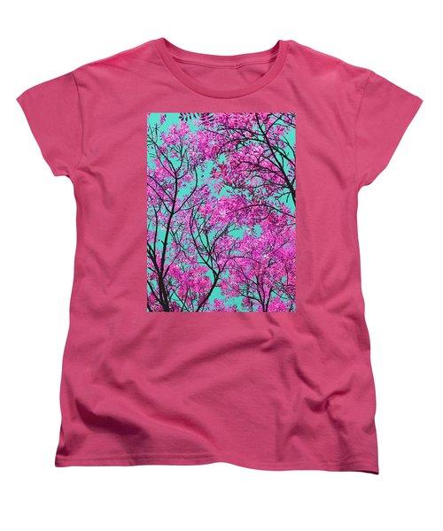 Natures Magic - Pink And Blue Women's T-Shirt (Standard Cut) by Rebecca Harman