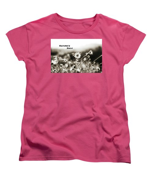 Nature's  Smile Monochrome Women's T-Shirt (Standard Cut) by Joseph S Giacalone