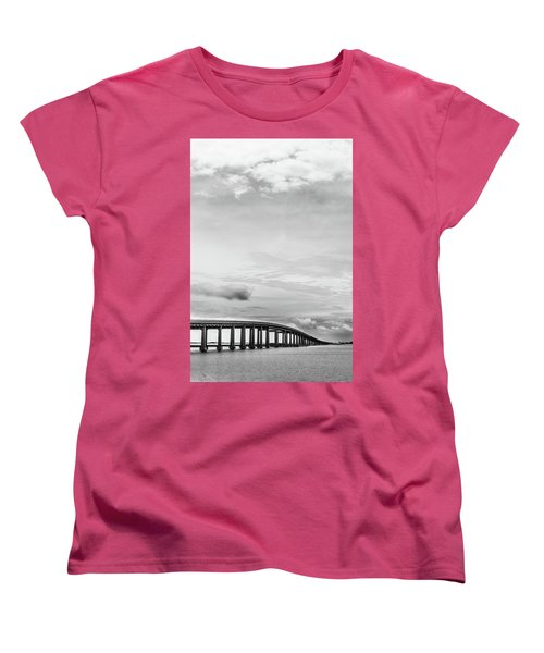 Women's T-Shirt (Standard Cut) featuring the photograph Navarre Bridge Monochrome by Shelby Young