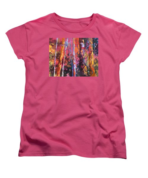Women's T-Shirt (Standard Cut) featuring the painting Neon Damsels by Rae Andrews