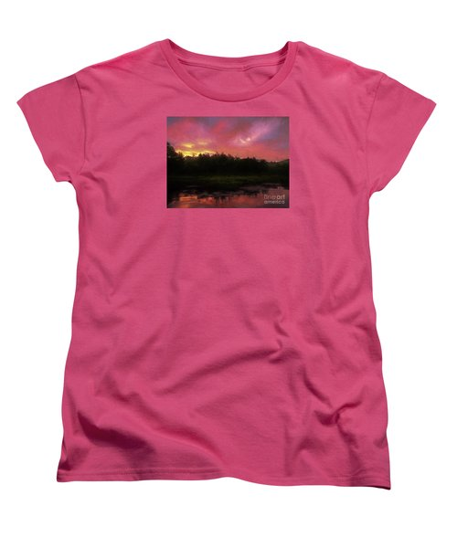 Women's T-Shirt (Standard Cut) featuring the photograph New Hampshire Sunrise Glaze by Mim White
