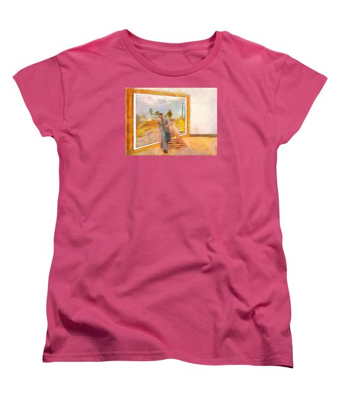 Women's T-Shirt (Standard Cut) featuring the painting Night At The Art Gallery - Railway To Freedom by Wayne Pascall