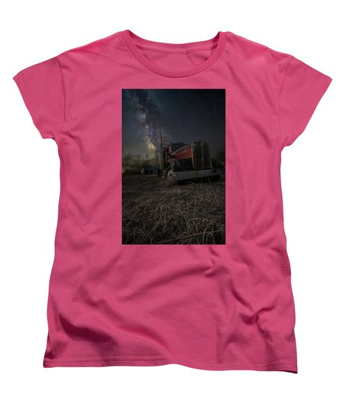 Women's T-Shirt (Standard Cut) featuring the photograph Night Rig by Aaron J Groen