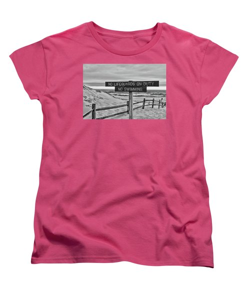 Women's T-Shirt (Standard Cut) featuring the photograph No Lifeguards On Duty Black And White by Paul Ward