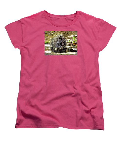 Women's T-Shirt (Standard Cut) featuring the photograph North American Porcupine by Kathy Kelly