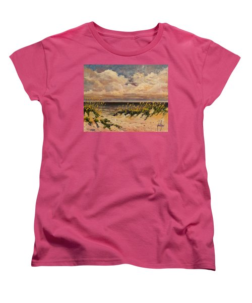 Women's T-Shirt (Standard Cut) featuring the painting North Topsail Beach by Jim Phillips