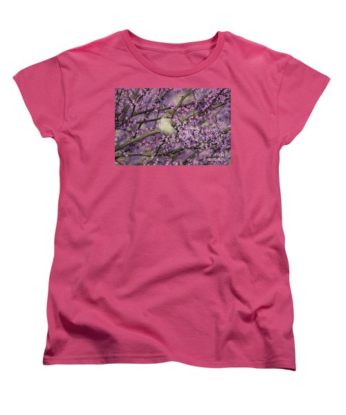 Northern Mockingbird In Blooming Redbud Tree Women's T-Shirt (Standard Cut) by Nature Scapes Fine Art