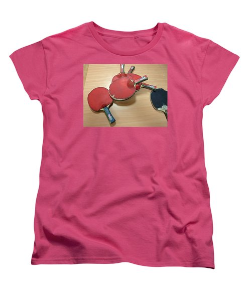 Number Of Ping Pong Bats Piled On A Table Women's T-Shirt (Standard Cut) by Ashish Agarwal