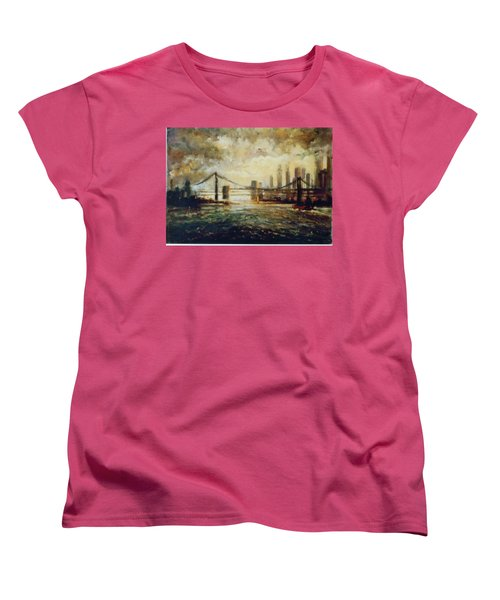 Women's T-Shirt (Standard Cut) featuring the painting Nyc Harbor by Walter Casaravilla