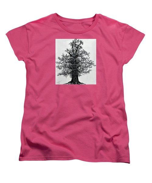 Women's T-Shirt (Standard Cut) featuring the drawing Oak Tree by Maja Sokolowska