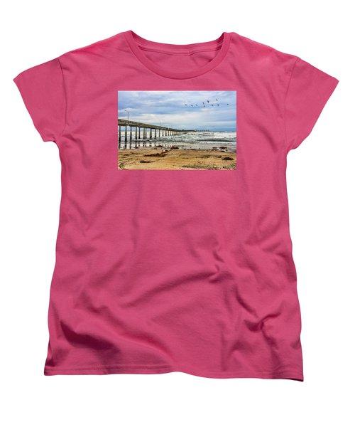 Ocean Beach Pier Fishing Airforce Women's T-Shirt (Standard Cut) by Daniel Hebard