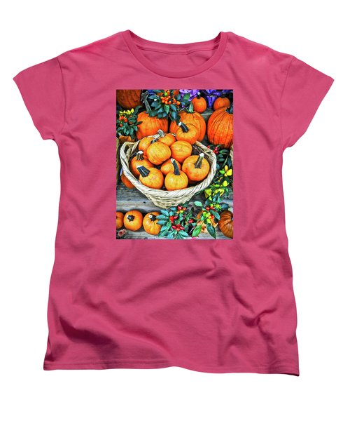 Women's T-Shirt (Standard Cut) featuring the photograph October Pumpkins by Joan Reese