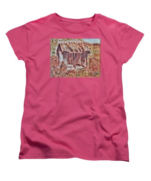 Women's T-Shirt (Standard Cut) featuring the painting Old Barn Outhouse Falling Apart In Decay And Dilapidation Rotting Wood Overgrown Mountain Valley Sce by MendyZ