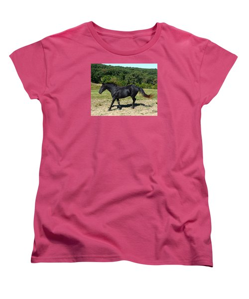 Women's T-Shirt (Standard Cut) featuring the digital art Old Black Horse Running by Jana Russon