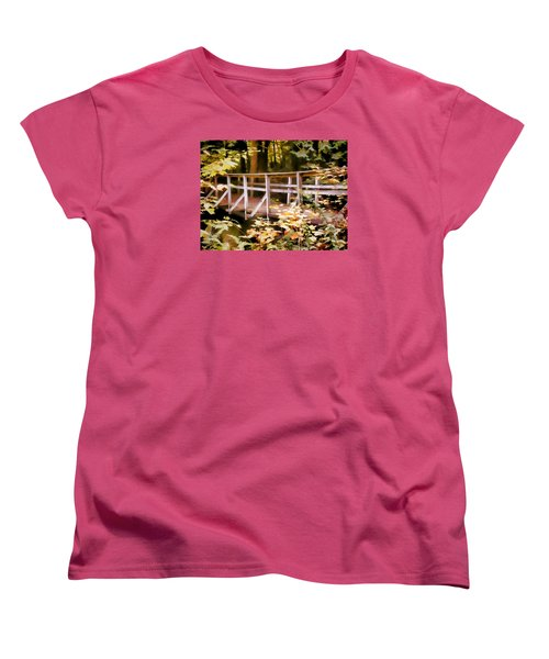 Old Bridge In The Woods In Color Women's T-Shirt (Standard Cut) by Rena Trepanier