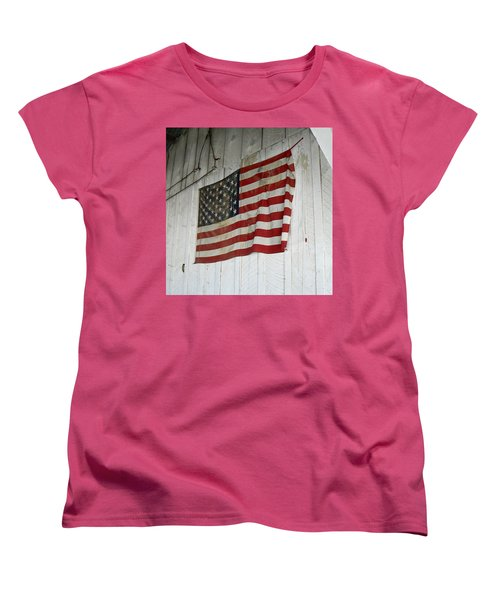 Old Glory Women's T-Shirt (Standard Cut) by Laurel Powell