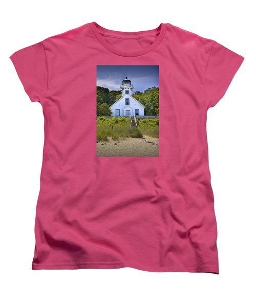 Old Mission Point Lighthouse In Grand Traverse Bay Michigan Number 2 Women's T-Shirt (Standard Cut) by Randall Nyhof
