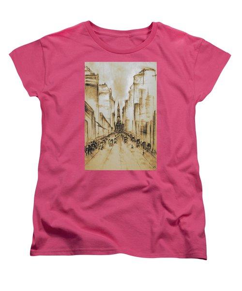 Old Philadelphia City Hall 1920 - Vintage Art Women's T-Shirt (Standard Cut) by Art America Gallery Peter Potter