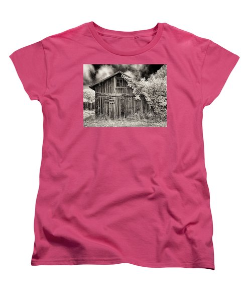 Women's T-Shirt (Standard Cut) featuring the photograph Old Shed In Sepia by Greg Nyquist