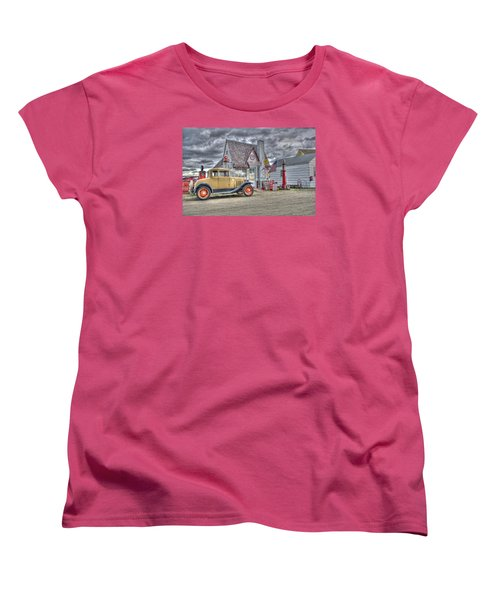 Old Time Gas Station Women's T-Shirt (Standard Cut) by Shelly Gunderson