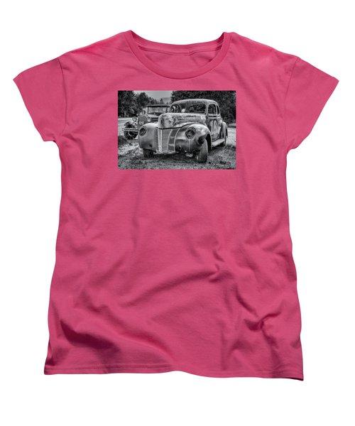 Old Warrior - 1940 Ford Race Car Women's T-Shirt (Standard Cut) by Ken Morris