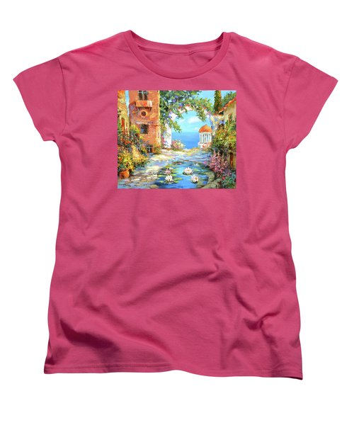 Women's T-Shirt (Standard Cut) featuring the painting Old Yard  by Dmitry Spiros