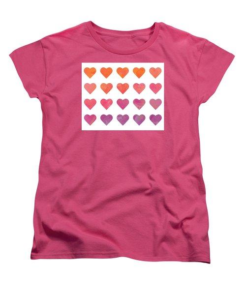 Ombre Hearts Women's T-Shirt (Standard Cut) by Whitney Morton