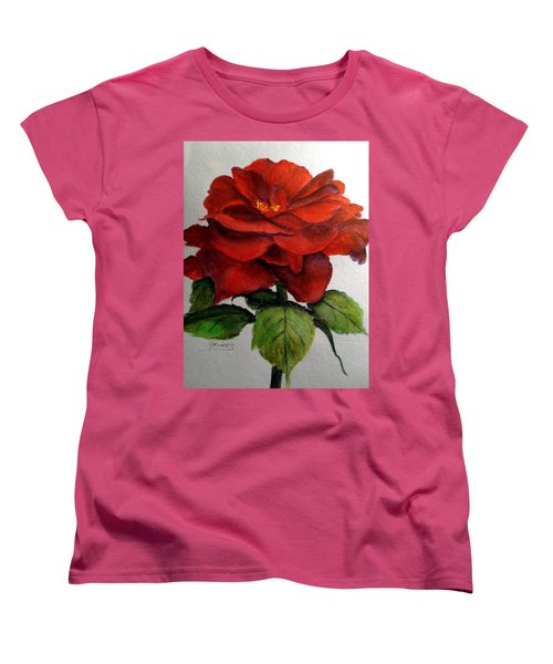 Women's T-Shirt (Standard Cut) featuring the painting One Beautiful Rose by Carol Grimes