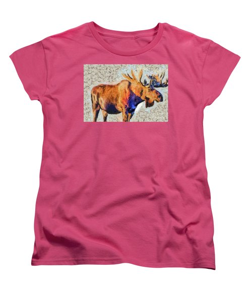 Women's T-Shirt (Standard Cut) featuring the painting One Handsome Moose by Elaine Ossipov