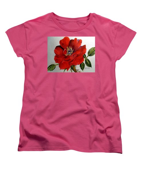 Women's T-Shirt (Standard Cut) featuring the painting One Lone Wild Rose by Carol Grimes