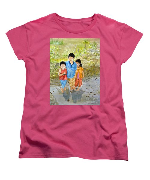 Women's T-Shirt (Standard Cut) featuring the painting Onion Farm Children Bali Indonesia by Melly Terpening