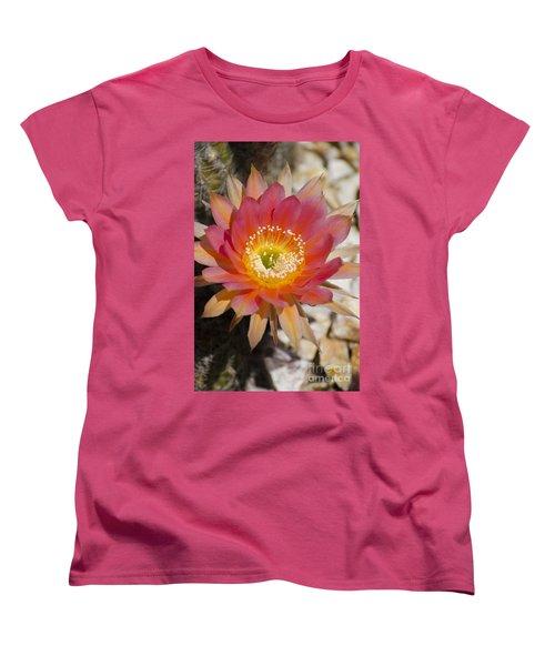 Orange Cactus Flower Women's T-Shirt (Standard Cut) by Jim and Emily Bush