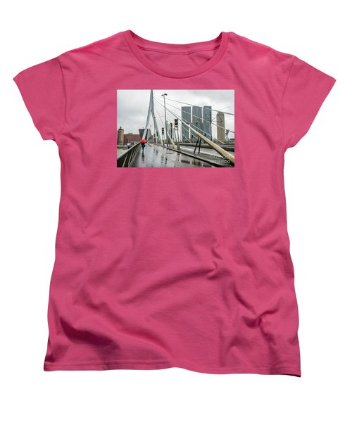 Women's T-Shirt (Standard Cut) featuring the photograph Over The Erasmus Bridge In Rotterdam With Red Umbrella by RicardMN Photography