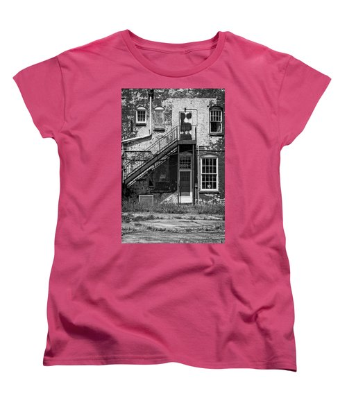 Women's T-Shirt (Standard Cut) featuring the photograph Over Under The Stairs - Bw by Christopher Holmes