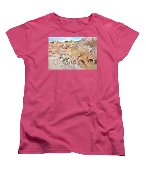 Overlooking Wash 5 In Valley Of Fire Women's T-Shirt (Standard Cut) by Ray Mathis