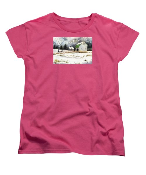 Women's T-Shirt (Standard Cut) featuring the painting Owen County Winter by Katherine Miller