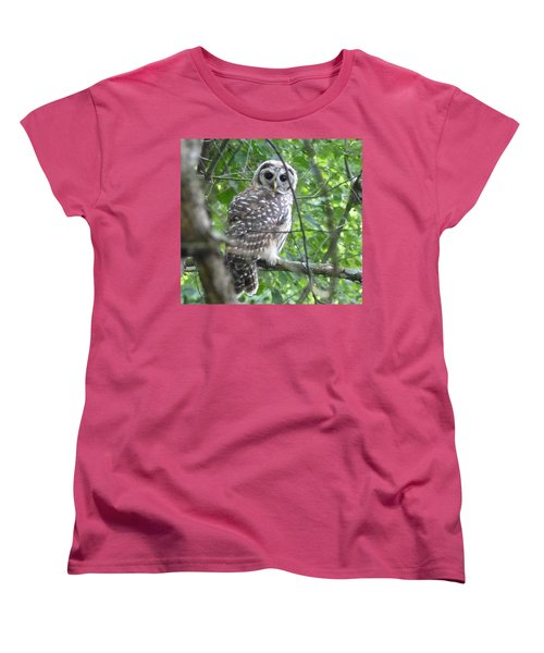 Owl On A Limb Women's T-Shirt (Standard Cut) by Donald C Morgan