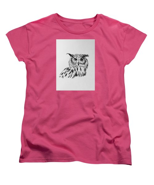 Women's T-Shirt (Standard Cut) featuring the drawing Owl Study 2 by Victoria Lakes