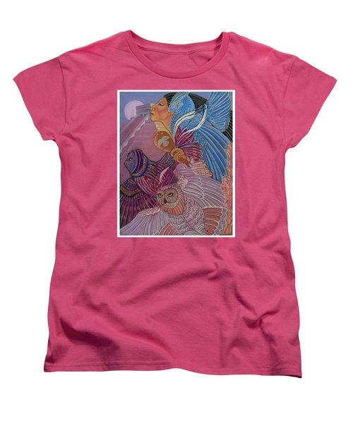 Owl Woman At Chichen Itza Women's T-Shirt (Standard Cut)