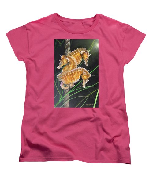 Pacific Lined Seahorse Trio Women's T-Shirt (Standard Cut) by Phyllis Beiser