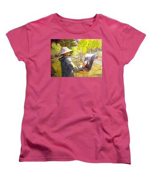 Women's T-Shirt (Standard Cut) featuring the painting Painters Paradise by Marilyn Jacobson